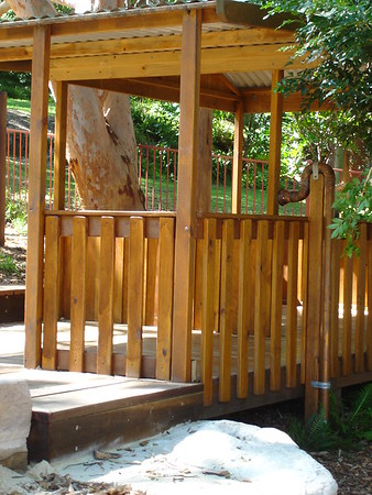 timber post and rail cubby with steel roof and speaking tube