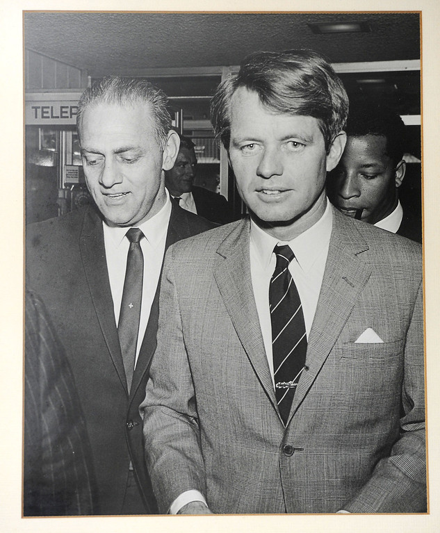 . Copy photo of Jim Horwitz, left, with Senator Robert F. Kennedy at the Sportsmen\'s Lodge in Studio City in 1968. Wednesday, November 6, 2013. (Photo by Michael Owen Baker/L.A. Daily News)