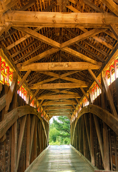 Inside view of Utica Mill Covered Bridge