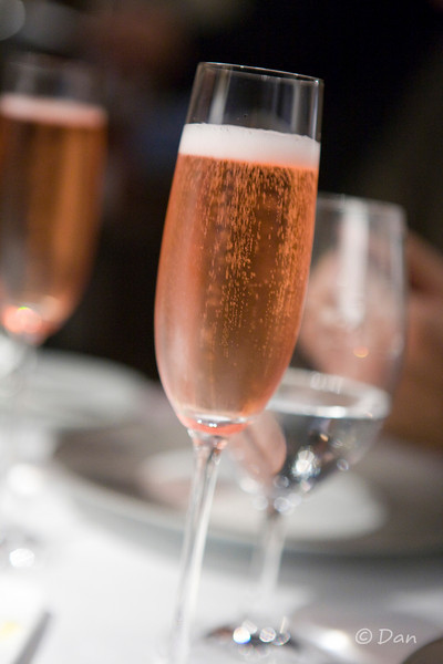A glass of rose champagne.  The stemware is also very nice (they use Riedel).