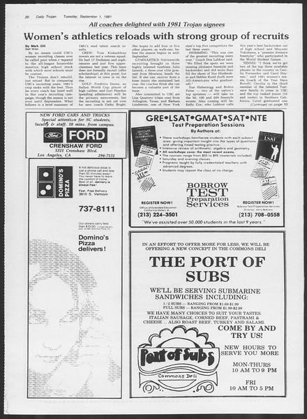 Daily Trojan, Vol. 91, No. 2, September 01, 1981