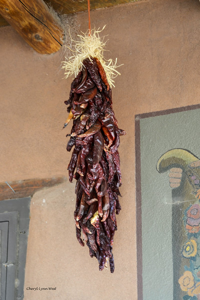 Cerrillos, New Mexico - Chili peppers hanging to dry