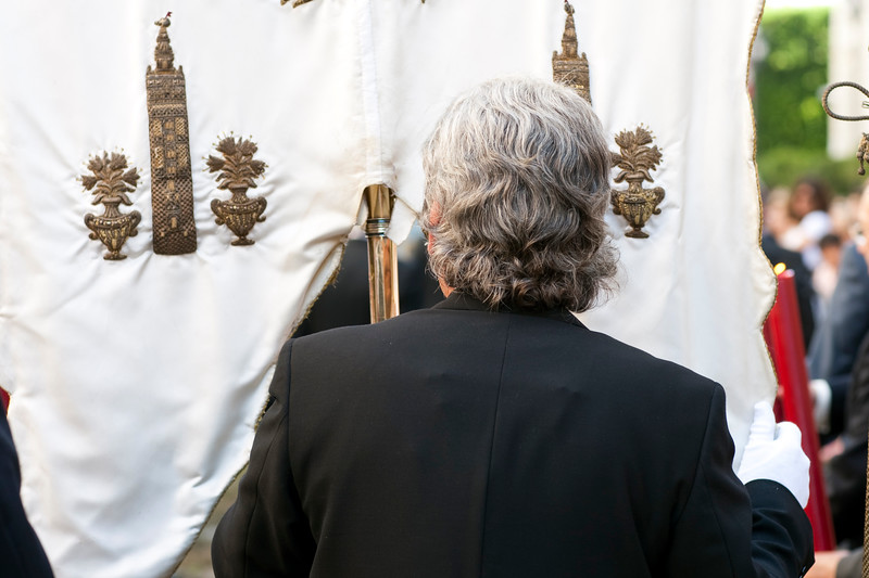 Standard bearer, Corpus Christi procession, Seville, Spain, 2009.