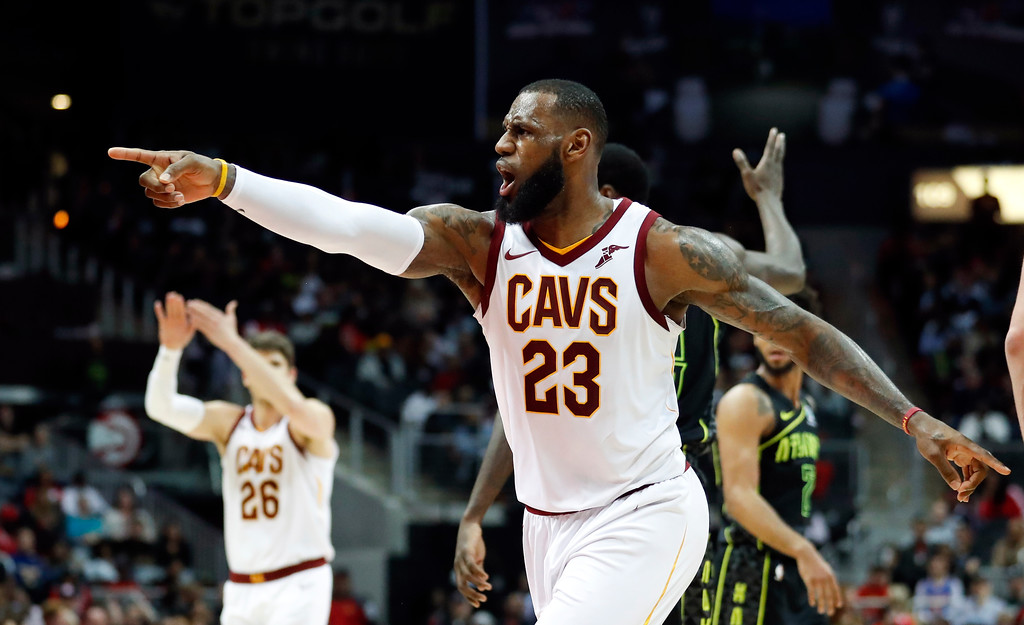 . Cleveland Cavaliers forward LeBron James (23) argues a call during the second half of the team\'s NBA basketball game against the Atlanta Hawks on Friday, Feb. 9, 2018, in Atlanta. Cleveland won 123-107. (AP Photo/John Bazemore)