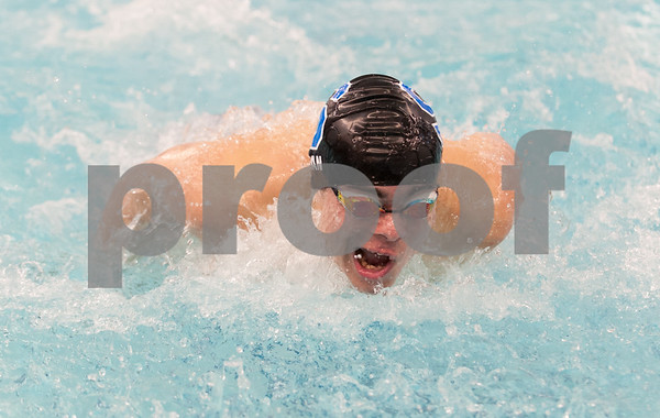 02/21/18 Wesley Bunnell | Staff Southington boys swimming defeated North West Catholic Wednesday afternoon at the Southington YMCA 90-71. Brendon Egan came in first in 100m butterfly with a time of 24.28.