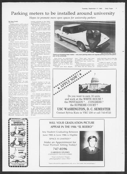 Daily Trojan, Vol. 100, No. 11, September 17, 1985