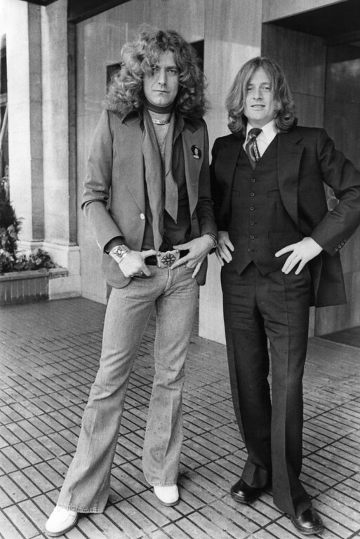 . 12th May 1977:  Robert Plant, singer, (left) and John Paul Jones, bass and keyboard player, (right) of the British rock group Led Zeppelin.  (Photo by Evening Standard/Getty Images)