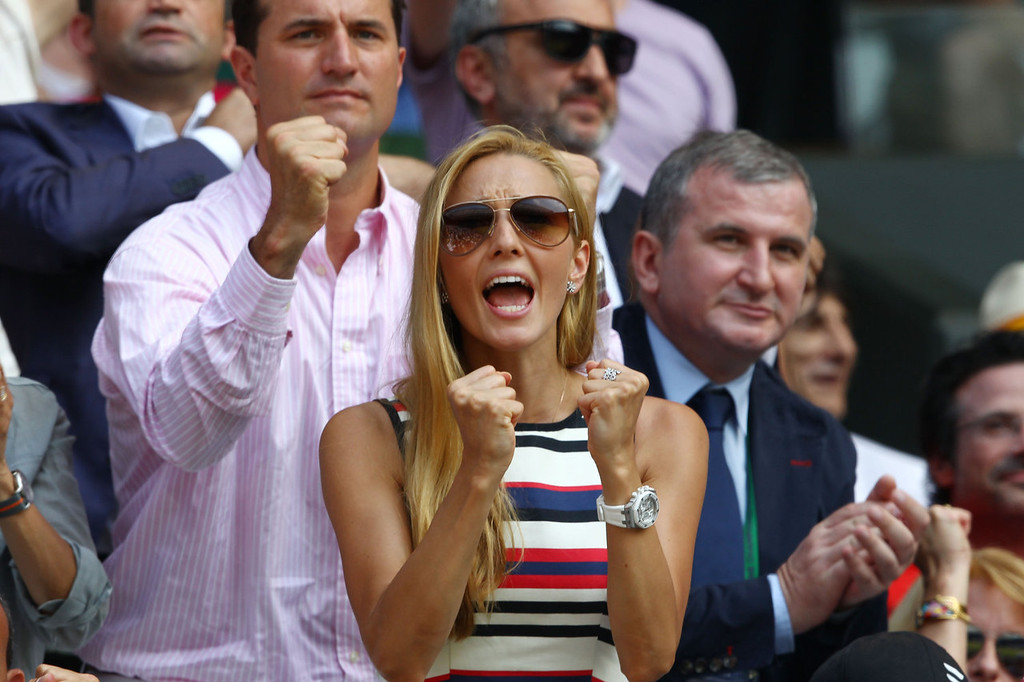 . Jelena Ristic, the girlfriend of Novak Djokovic of Serbia cheers during his Gentlemen\'s Singles Final match against Andy Murray of Great Britain on day thirteen of the Wimbledon Lawn Tennis Championships at the All England Lawn Tennis and Croquet Club on July 7, 2013 in London, England.  (Photo by Clive Brunskill/Getty Images)