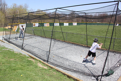Family Playing Baseball, Batting Cage, Little League Field, Summit Hill (4-27-2013)