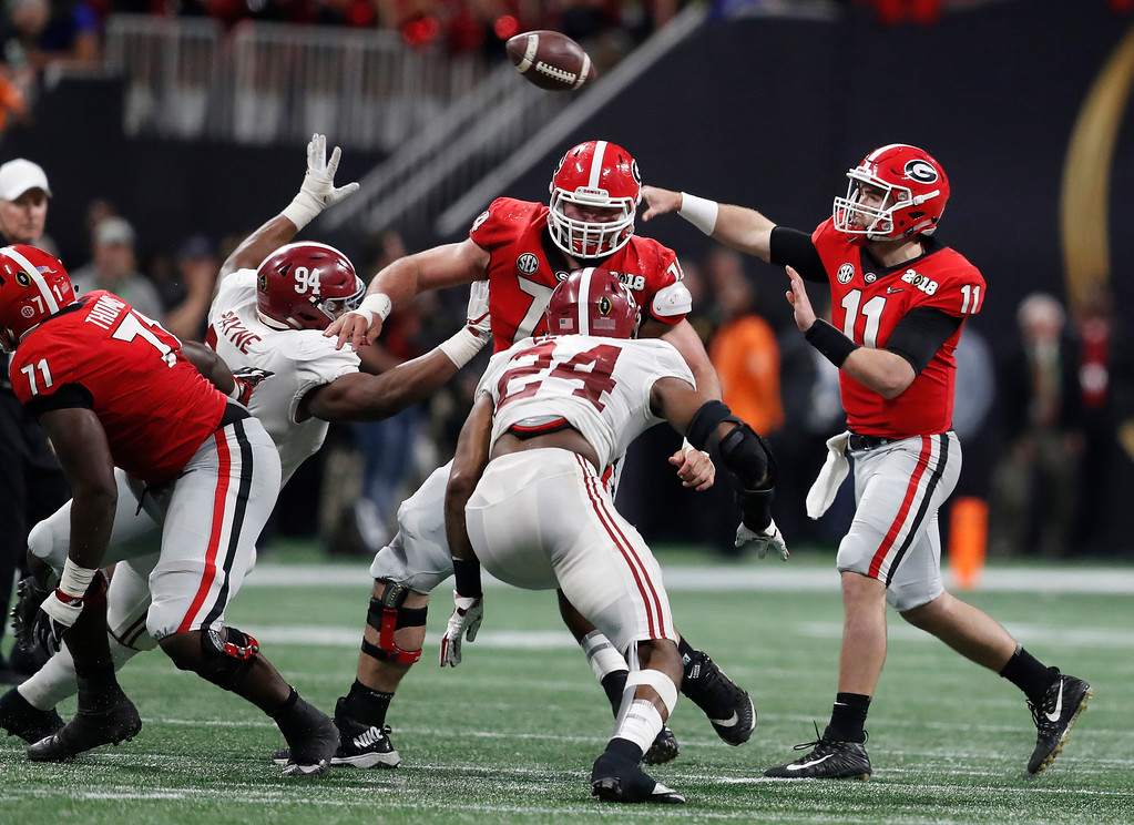 . Georgia quarterback Jake Fromm throws during the second half of the NCAA college football playoff championship game Monday, Jan. 8, 2018, in Atlanta. (AP Photo/David Goldman)
