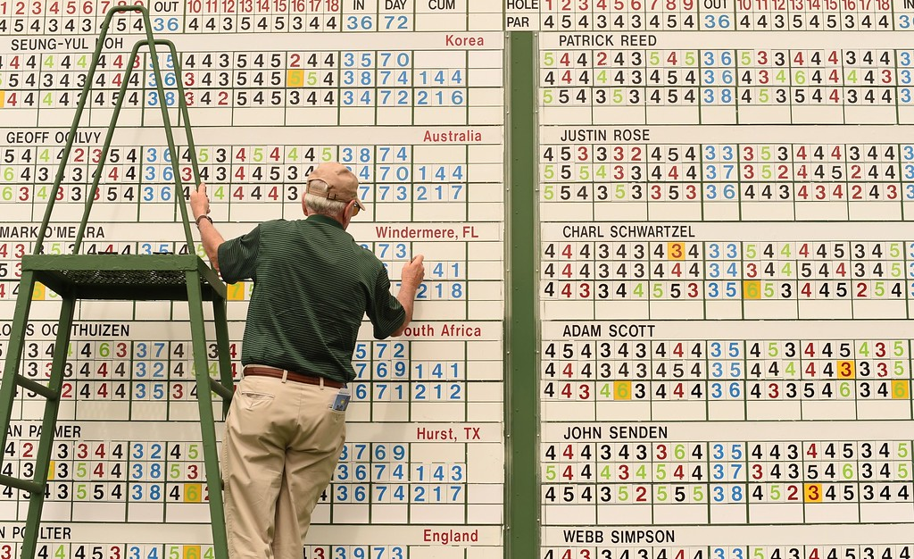 . A scorekeeper works on the score board during Round 4 of the 79th Masters Golf Tournament at Augusta National Golf Club on April 12, 2015, in Augusta, Georgia. TIMOTHY A. CLARY/AFP/Getty Images