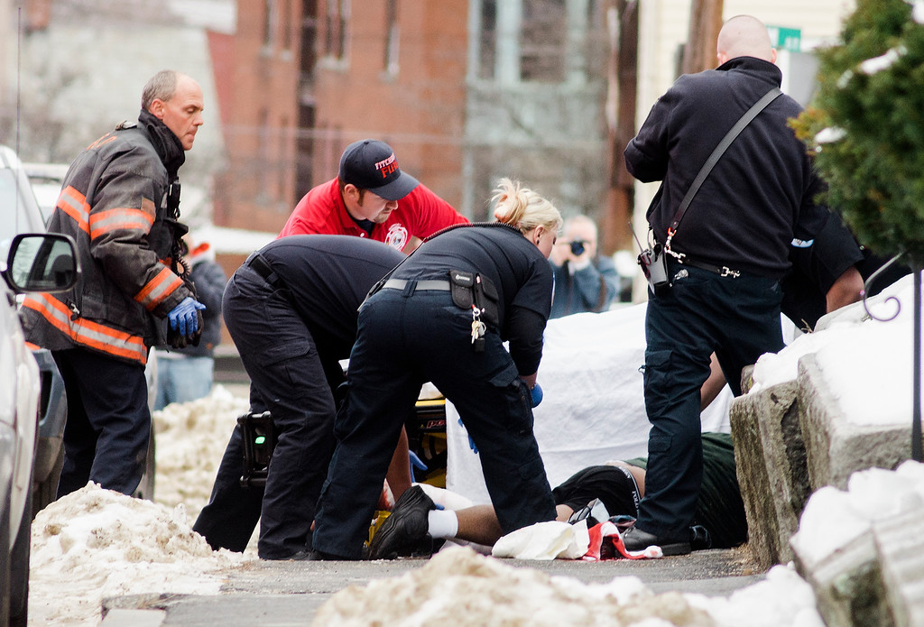 . Police investigate a reported stabbing in the area of 75 Granite Street in Fitchburg shortly after 3 p.m. on Friday afternoon. SENTINEL & ENTERPRISE / Ashley Green