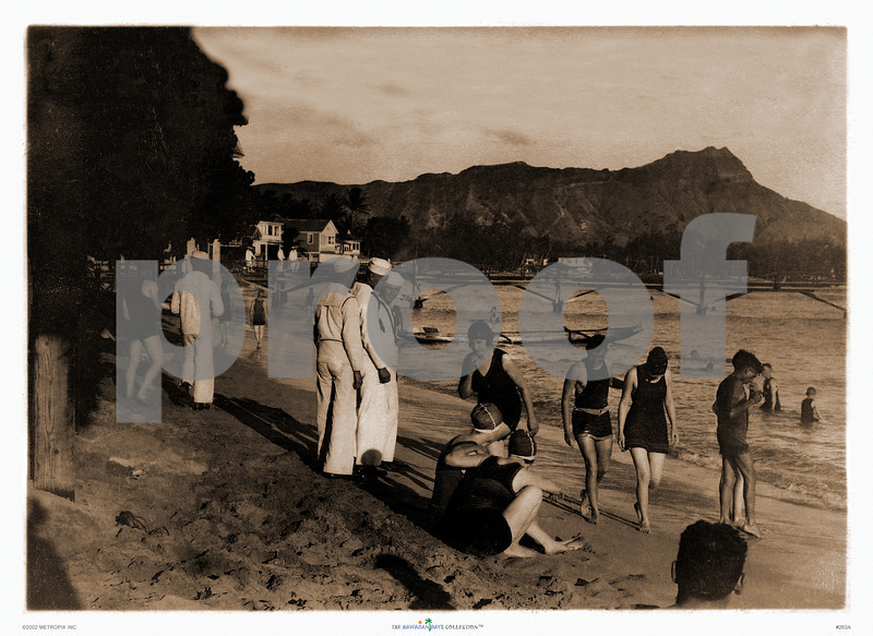 263: 'U.S. Navy Personnel Visiting Waikiki Beach' Photograph. Ca. 1933. (PROOF watermark will not appear on your print)