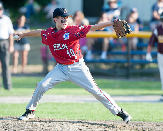 07/10/18 Wesley Bunnell | Staff Pitcher Toby Lavender (10) pitches in the bottom of the 4th inning. Berlin 12U baseball was eliminated by Yalesville 2-0 on Tuesday evening at Bill Petit Complex.