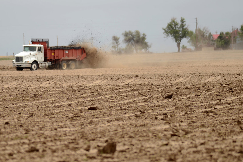 . Eric Hixson lays manure on dirt to stop dust from spreading at Hixson Farms in Lamar, Colorado on June 5, 2013.  Their farm has been hit by seven different dust storms since last November with a recent storm leaving behind dust drifts as high as three feet in some areas.  (Photo By Hyoung Chang/The Denver Post)