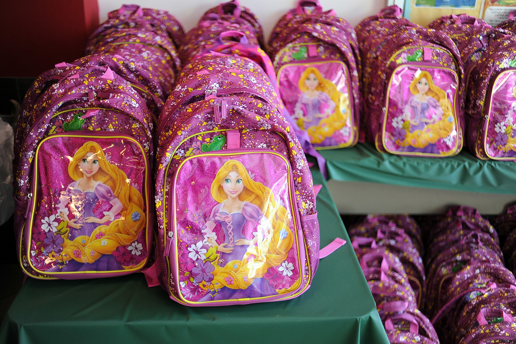 . Backpacks wait for new owners during MEND�s (Meet Each Need with Dignity) 13th annual �Head to Toes,� program at the Pacoima charity�s center Wednesday, August 27, 2014. 240 third-graders from Pacoima�s Vaughn Next Century Learning Center were provided with full back-to-school care: free dental and vision screenings through a healthcare initiative with Verizon Foundation, new shoes and new backpacks chock-full of school supplies school supplies donated by the Ella Fitzgerald Charitable Foundation. (Photo by Hans Gutknecht/Los Angeles Daily News)
