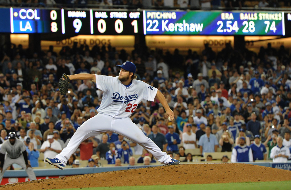 . Clayton Kershaw throws a no hitter. The Dodgers defeated the Colorado Rockies 8-0 at Dodger Stadium in Los Angeles, CA. 6/18/2014(Photo by John McCoy Daily News)
