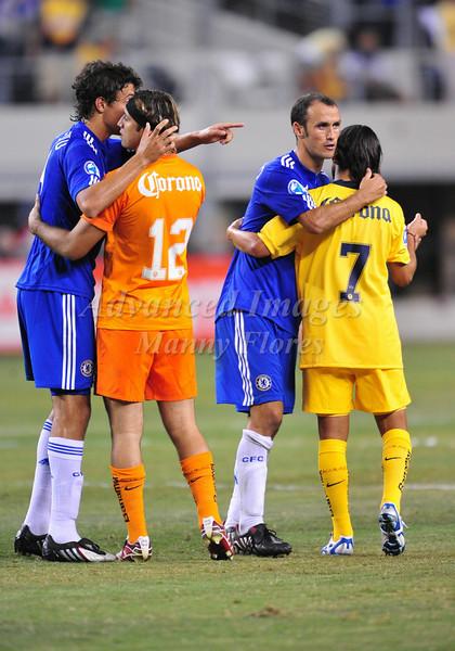 July 26 2009 World Football Challenge - Chelsea FC v Club America:  Both teams exchange hanshakes in action at the Cowboys Stadium in Arlington, Texas. Chelsa FC beats Club America 2-0.