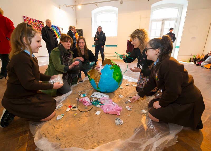 "15/01/2019. FREE TO USE IMAGE. Pictured at Garter Lane Arts Centre, Waterford city at an art exhibition ""the good, the bad and the ugly"" that discusses plastics. Recycle, reuse, reduce, replace – WIT and Waterford schoolgirls to exhibit exceptional art installation with thought-provoking components made from household plastics, pictured are Lauren and Kyria 6th class pupils of Presentation School, Waterford City with artist Rachel Smith, Cordula weiss from Calmast, WIT (Waterford Institute of Technology) and Senator Grace O'Sullivan,  Coordinated by Calmast, Waterford Institute of Technology's STEM (science, technology, engineering and maths) outreach centre, with support from Creative Ireland (Waterford), girls from Presentation Primary and Presentation Secondary Schools created an exceptional art exhibition that discusses plastics. Picture: Patrick Browne"