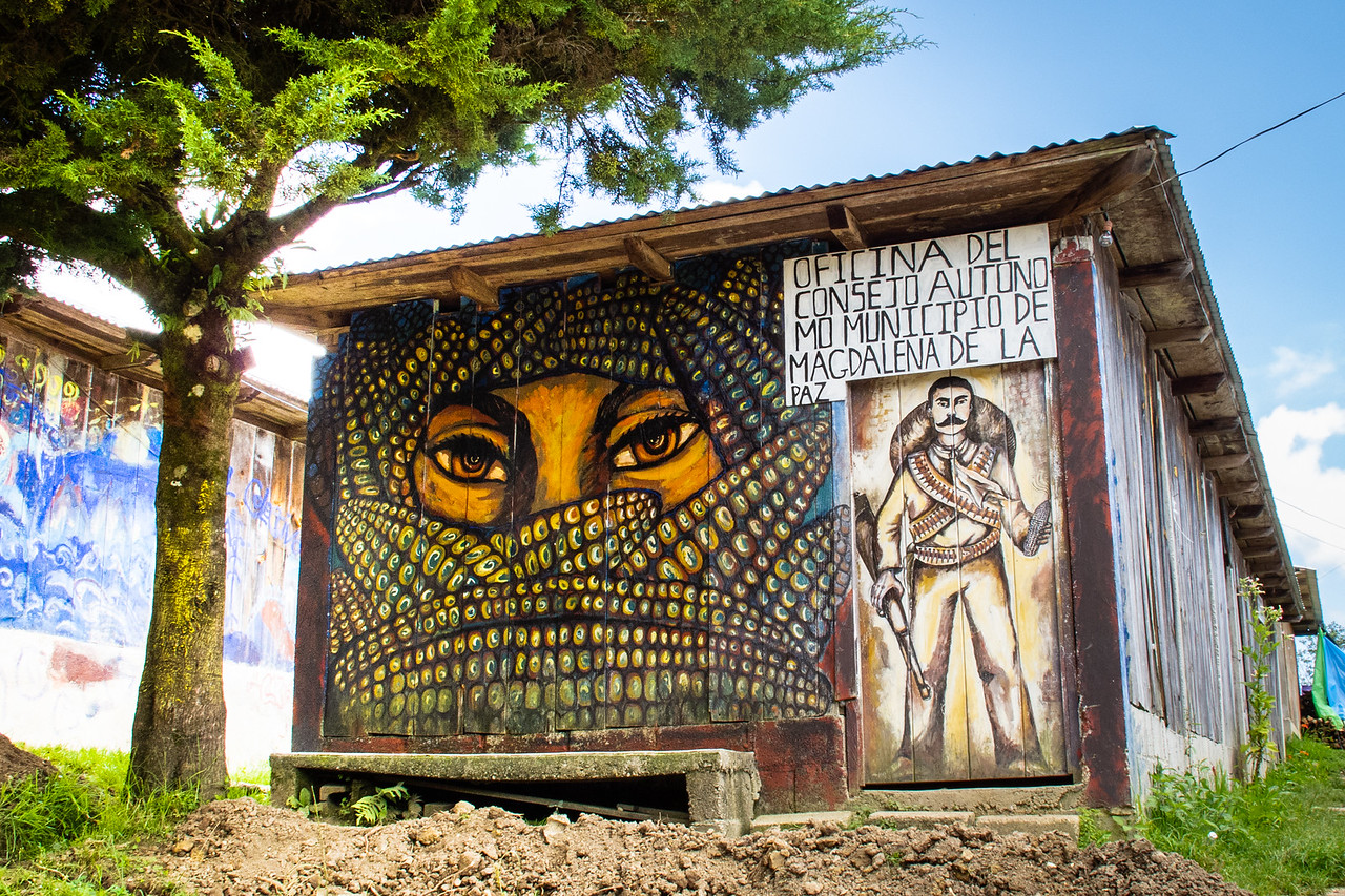 Zapatista Mural on a Government Office in Oventic