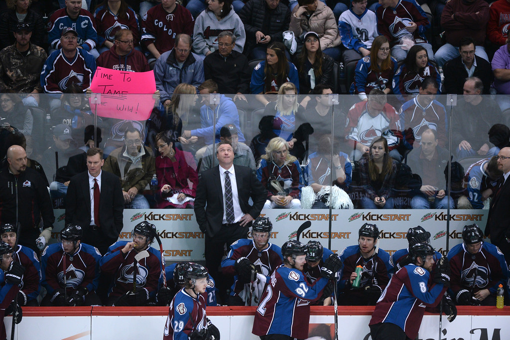 . Avalanche head coach Patrick Roy watches during the third period of action. The Colorado Avalanche hosted the Minnesota Wild in game 7 of their Stanley Cup Playoff series at the Pepsi Center in Denver, Colorado on Wednesday, April 30, 2014. (Photo by Karl Gehring/The Denver Post)