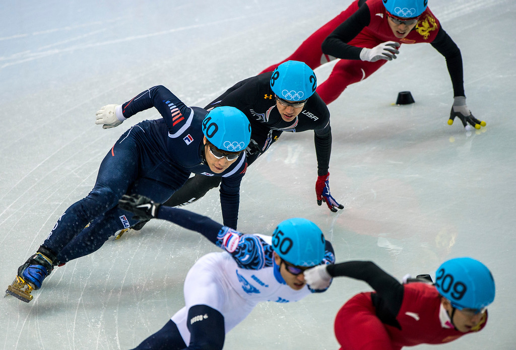 . Tianyu Han, of China, (209) Victor An, of Russia, (250) Han-Bin Lee, of Korea, (240) J.R. Celski, of Salt Lake City, (258) and Dequan Chen, of China, (208) compete in the 1,500-meter short-track speedskating finals at Iceberg Skating Palace during the 2014 Sochi Olympic Games Monday February 10, 2014. Celski finished in fourth place with a time of 2:15.624, 0.639 behind gold medalist Charles Hamelin of Canada. (Photo by Chris Detrick/The Salt Lake Tribune)
