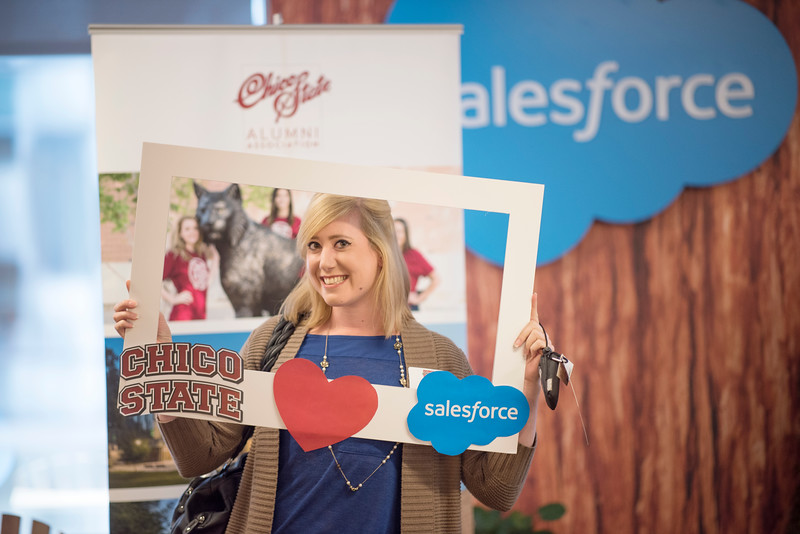 Alumnus Megan Murphy takes a photo at the photo booth at Chico State's Alumni Day at Salesforce West on Thursday, May 10, 2018 in San Francisco, Calif. (Jessica Bartlett /University Photographer/CSU Chico)