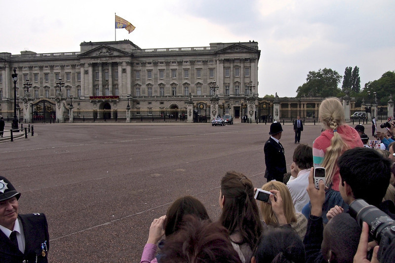 Royal Wedding – the couple emerges after the reception.
