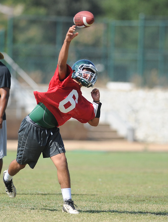 . QB Garrett Fonseca during morning practice at South Hills High School on Friday, Aug. 9, 2013 in West Covina, Calif.   (Keith Birmingham/Pasadena Star-News)