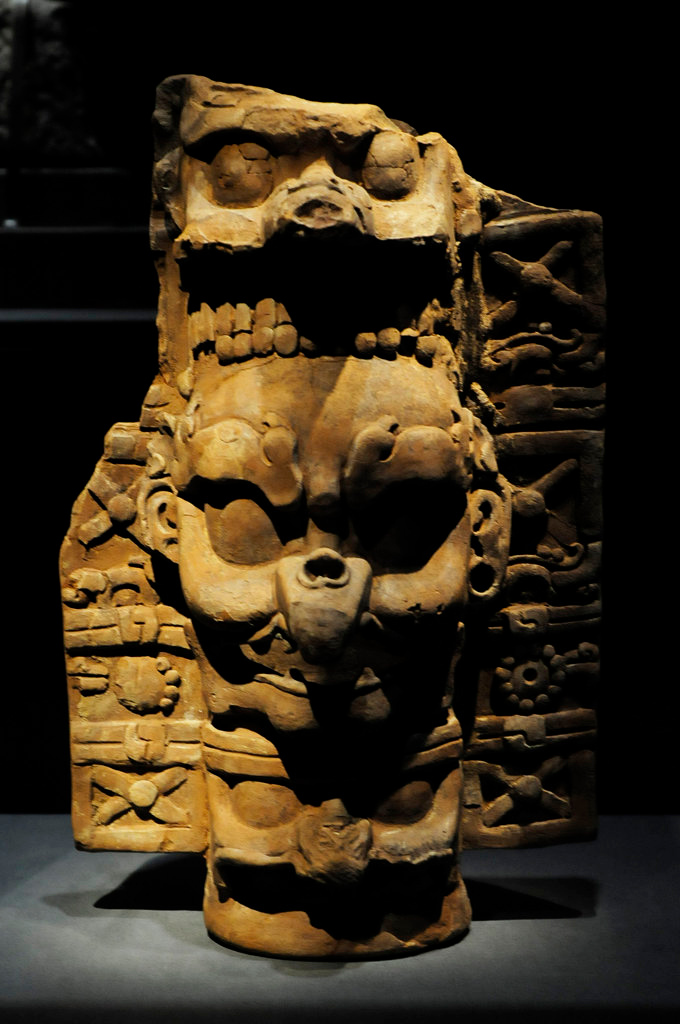 """. A ceramic incense burner base with a beaked  K\'awiil, AD 600-900, from Palenque, Mexico, at the \""""Maya: Hidden Worlds Revealed\"""" exhibit at the Science Museum of Minnesota. (Pioneer Press: Scott Takushi)"""