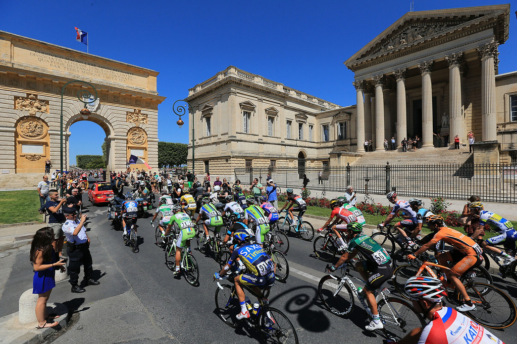 . MONTPELLIER, FRANCE - JULY 05:  Riders set off for the start of stage seven of the 2013 Tour de France, a 205.5KM road stage from Montpellier to Albi, on July 5, 2013 in Montpellier, France.  (Photo by Doug Pensinger/Getty Images)