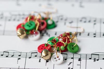 Button Dangle Earrings Christmas Gold Bells September 2018