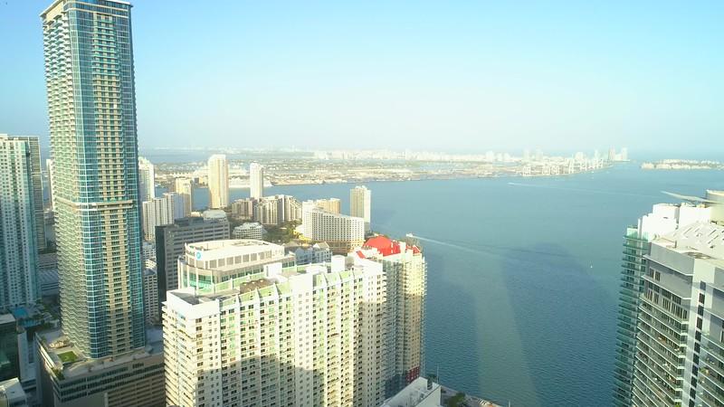 Amazing aerial shot of the Brickell Arch Miami Florida