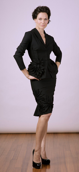 Black Italian stretch-wool jacket and skirt with hand-sewn flower detail