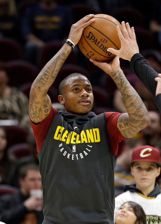 . Cleveland Cavaliers\' Isaiah Thomas warms up for the team\'s NBA basketball game against the Brooklyn Nets on Wednesday, Nov. 22, 2017, in Cleveland. (AP Photo/Tony Dejak)