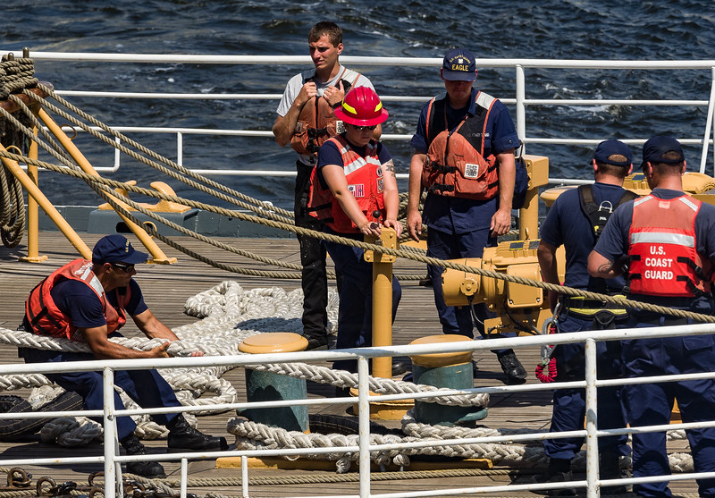 Crew Members of the USCGC Eagle on Deak