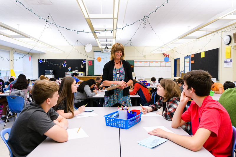 Arts teacher Tracy Rhoades greets her new students. Back to school day at McNary High School on Wednesday, September 4, 2019 in Keizer, Ore.