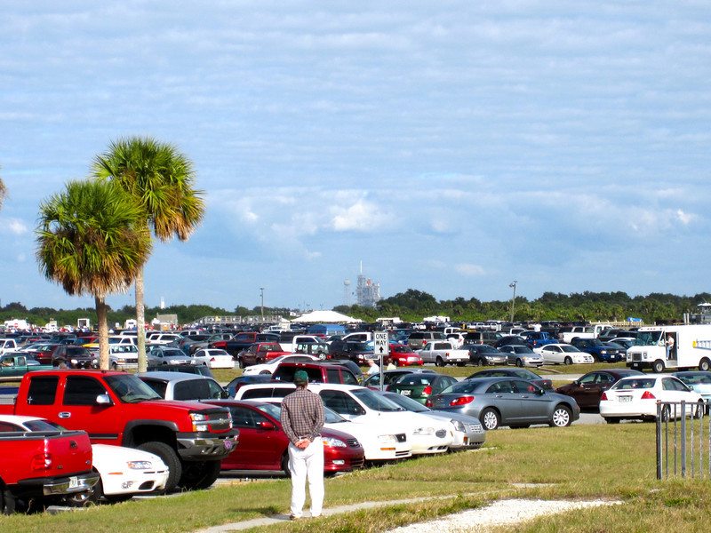 Our view of the launch from our location just outside the VAB, about 3 miles from Launch Pad 39A. Photo by Jim Lovett