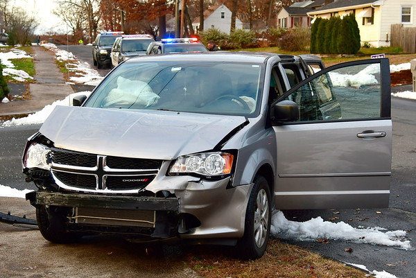 11/20/2018 Mike Orazzi | Staff One of the two vehicles involved in a crash at the intersection of Vera Road and Brace Avenue Tuesday afternoon. One person was extricated with a possible broken leg.