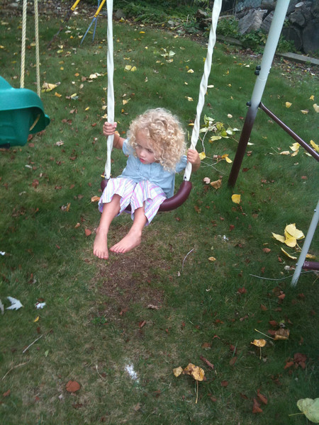 Autumn Trying to Stay on Swing.