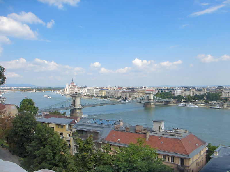 looking across the Danube from the Buda Palace.  Chain Bridge and Parliament visible from here..