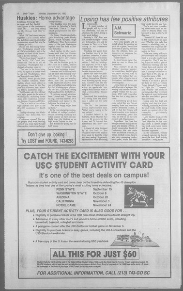 Daily Trojan, Vol. 113, No. 15, September 24, 1990