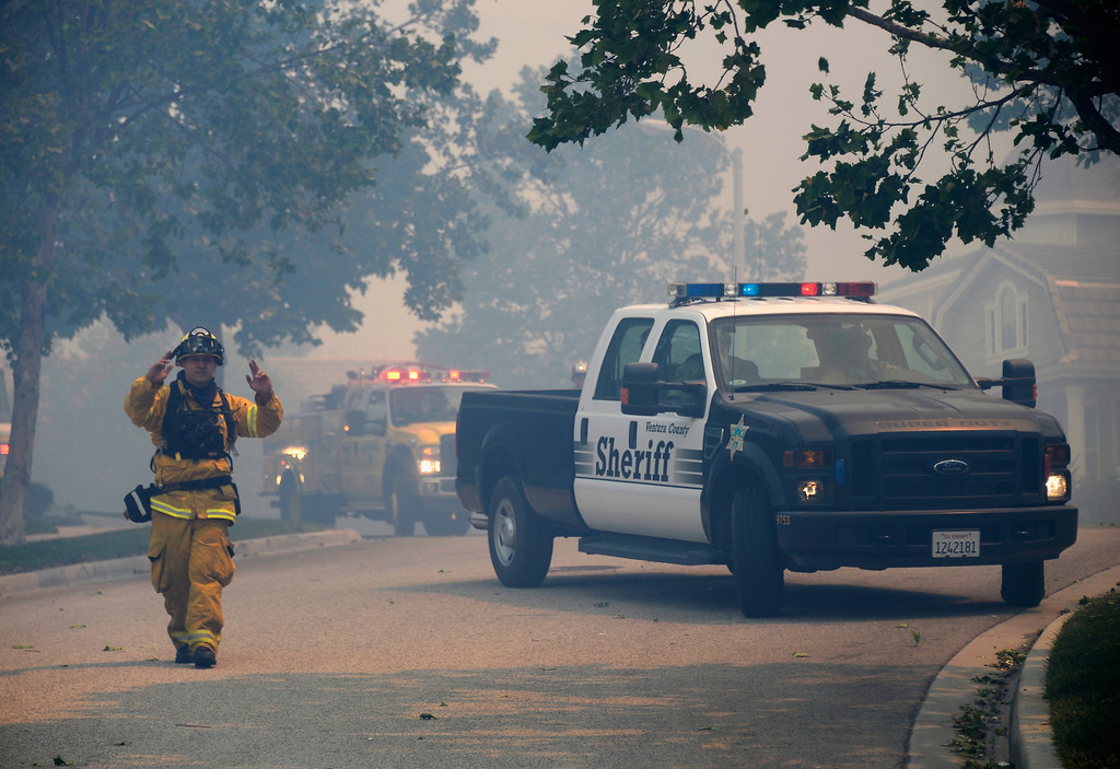 . Ventura County Fire Department and Sheriffs deploy for structure protection as a wildfire approaches homes on May 2, 2013 in Newbury Park, California. (Photo by Kevork Djansezian/Getty Images)