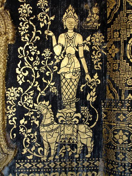 Stencils in a monastery temple, Luang Prabang, Laos