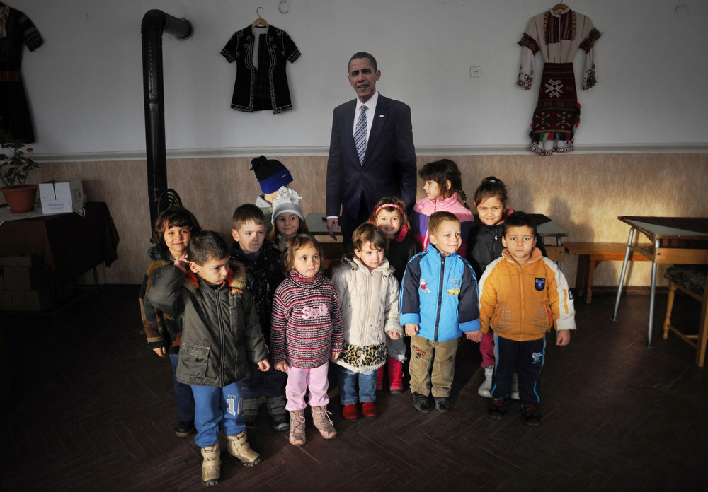 Description of . Children from Barakovo's kindergarten pose for a picture next to a life-size cardboard cut-out of US President Barack Obama, inside the village's cultural club on January 21, 2013. The tiny Bulgarian village that says it is a namesake of Barack Obama will be closely following the US President's second inauguration today and is hopeful he will one day come and visit. The residents of the southwestern village of Barakovo, which means