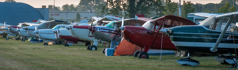 Panorama of aircraft participating in EAA Show 2012 in Wisconsin