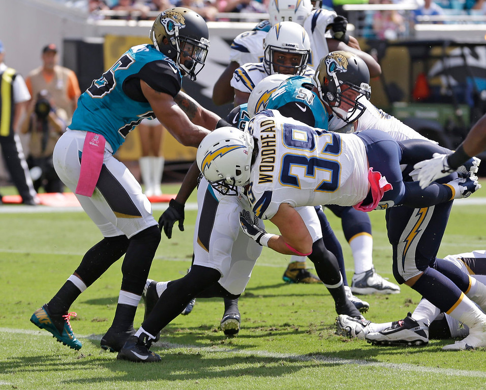 . San Diego Chargers running back Danny Woodhead (39) dives past the Jacksonville Jaguars defense including middle linebacker Paul Posluszny (51) and free safety Josh Evans, left, for a 2-yard touchdown during the first half of an NFL football game in Jacksonville, Fla., Sunday, Oct. 20, 2013.(AP Photo/John Raoux)
