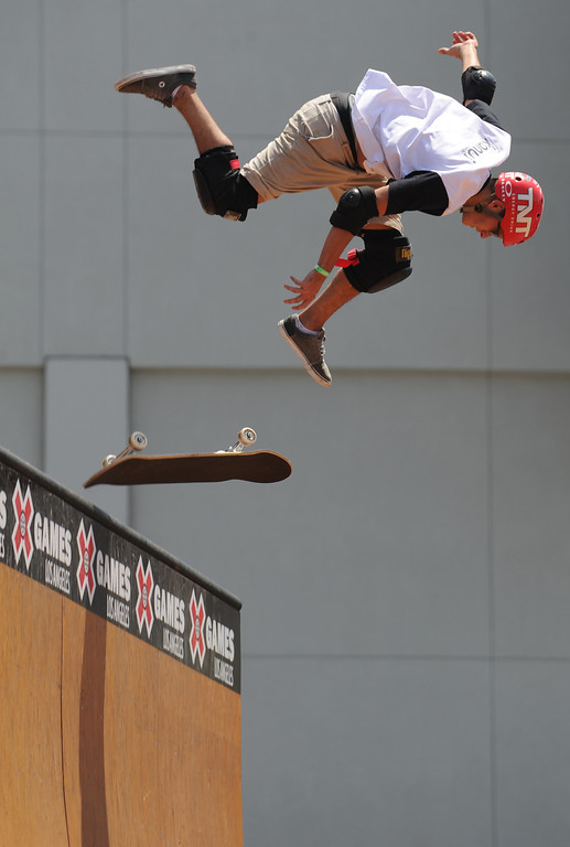 . Rony Gomes looses his footing during the Skateboard Vert Finals at L.A. Live in Los Angeles, CA. 8/3/2013(John McCoy/LA Daily News)