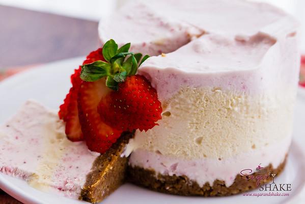 Strawberries & Honey Cream No-Churn Ice Cream Cake