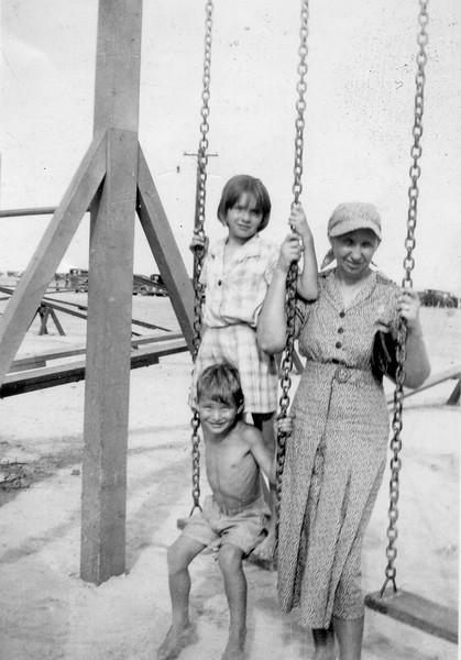 Bertha Jacob with Maria and George Jacob Jr. Galveston, Texas circa 1937